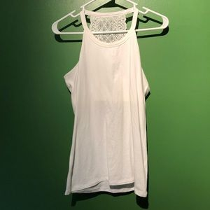 White tank with built in bra and lace racer back